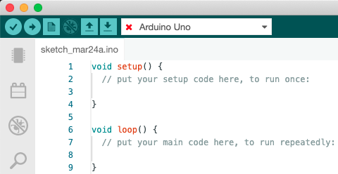 The Arduino IDE. The board dropdown displays Arduino Uno, with a red cross.